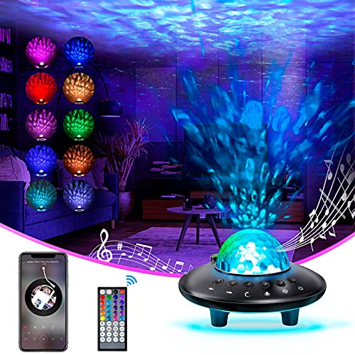 Star Projector Night Light, Dimmable Galaxy Star Light Projector with Remote Control, Bluetooth Music Speaker & Timing Function, Ceiling Projector Night Light for Home Decoration