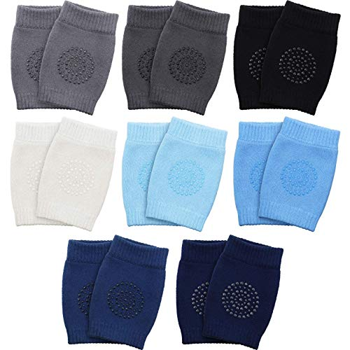 8 Pairs Unisex Baby Crawling Anti-Slip Knee Pads Toddler Knee Protectors Learn to Crawl Socks Leg Warmers (Black Blue Gray Series)
