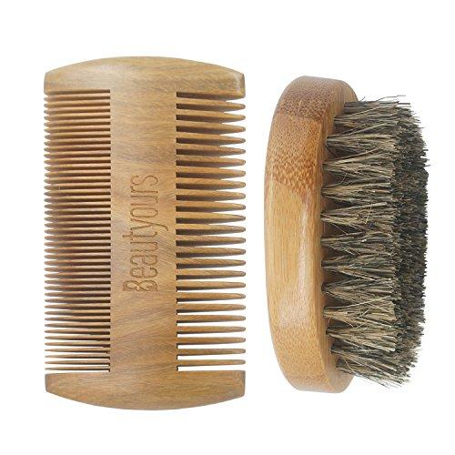 Beard Comb & Beard Brush Kit for men - Handmade sandwood Comb and Natural Boar Bristle Beard Brush set for Beard & Mustache Shaping