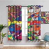 GJJHR Cortina para Ventana Cortinas Termicas - Color abstracto arte pintura - 120x140 cm - Cortinas Habitacion Bebe Diseño Cortina para Balcon Salón Habitación y Cámara