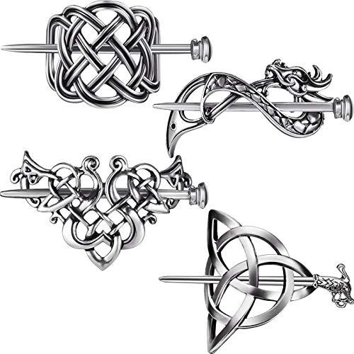 4 Pieces Viking Celtic Hair Clips Hairpins Celtics Knots Hairpins Retro Silver Hair Sticks Hair Pin Hair Accessories for Long Hair Women Girls
