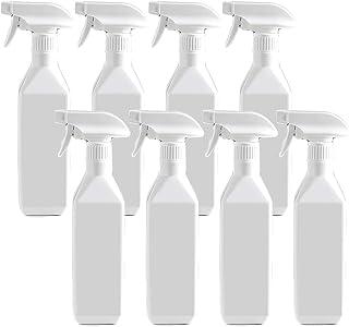 Across スプレーボトル アルコール対応 500ml 手指消毒 消毒 詰め替えボトル 容器 除菌スプレー 遮光 白 小分け (角型500ml8本)