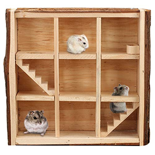 Hamiledyi Wooden Small Animal Maze Hamster Playground Multi-Chamber Mice House Gerbils Tunnel Exploring Toys for Mouse Lemmings Rats and Other Small Rodents