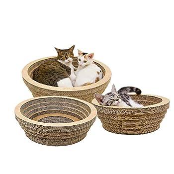 Waroomss Griffoirs pour chats, Chat Griffoirs, Carton Ondulé pour Chat, Chat Planche à Gratter,Jouet anti-rayures en carton ondulé pour gratter et se reposer, avec cataire, pour chat chaton, S / M / L