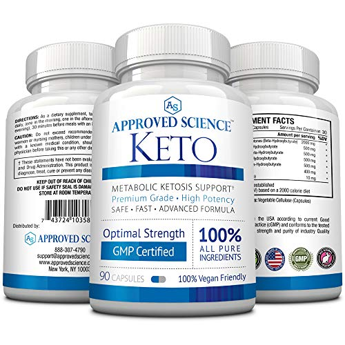 Approved Science® Keto: Pure Exogenous 4 Ketone Salts (Calcium, Sodium, Magnesium and Potassium) and MCT Oil to Boost Ketosis. 6 Bottles 4