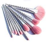 Terilizi10Pcs Productos De Maquillaje Profesional Base De Polvo Rosa Rubor Pincel Sombra De Ojos Delineador De Ojos Labio Cosméticos Herramientas De Belleza A