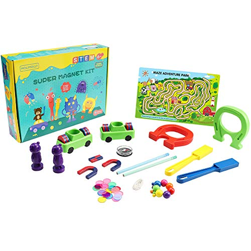MOLIMOLLY Science Kit Super Magnet Lab Toy for Kids,Electricity Kit with Fact-Filled Guide,STEM...