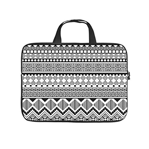 Aztec Diamond Grid Laptop Bag Shockproof Protective Case for Laptops Tailored Notebook Bag for University Work Business