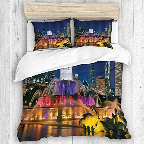 ZORMIEY Bettwäsche - Bettwäscheset,Chicago-Skyline Buckingham Fountain Landmark in der Mitte von Grant Park Vibrant Night,Dreiteiliger Winteranzug aus Mikrofaser