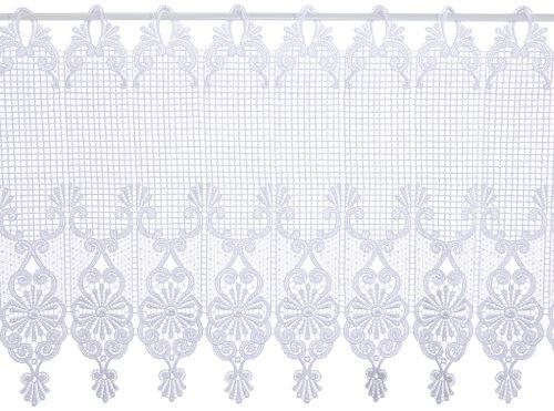 Plauener Spitze by Modespitze 68504_45, Tendine in Pizzo, 100% Poliestere, Altezza 45 cm, Bianco, Larghezza 96 cm