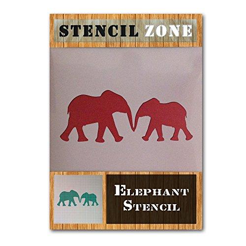 Elefant Netter Liebe Tier Mylar Airbrush Malerei Wand-Kunst-Handwerk-Schablone 2 (A4 Größe Stencil - Small)