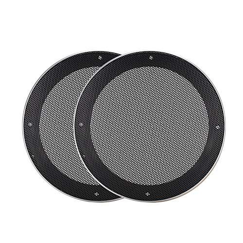 Autoluidsprekerhoes, 2 stuks 6,5 inch luidsprekerhoes Mesh-luidsprekers Decoratieve cirkel Subwoofer Grill Cover Protector (zwart + zilver)