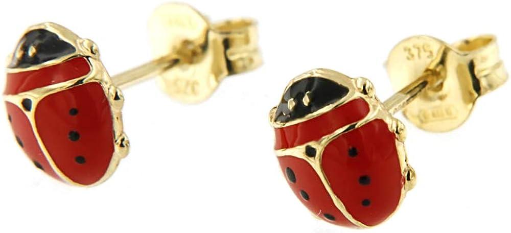Lucchetta orecchini per donna, portafortuna,in oro giallo 9 ct /375 (0,4 g) a forma di coccinella 2O1733MLA