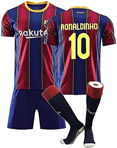 Ronaldinho # 10 maglie da calcio da uomo, maglia da calcio Ronaldinho, set da maglia da uomo, per adulti e bambini, maglietta + pantaloncini + calzini, adatta per tifosi, bambini e adulti