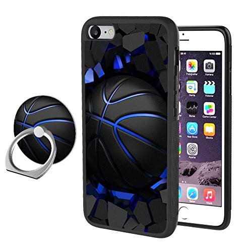 iPhone 7 8 SE 2nd Generation Phone case with Ring Stand, Basketball Rotating Ring Stand and Slim Thin Anti-Fingerprint Hard with Ring Holder Stand for iPhone 7 8