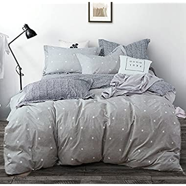 Uozzi Bedding 3 Piece Duvet Cover Set with Zipper Closure,Gray Printed Pattern with dot and Cross Reversible, Brushed Microfiber, Lightweight Soft, Summer Thin Material (Dot&Cross, King102 x90)