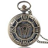 J-Love Bronce Vintage Cool Spider Symbol Reloj de Bolsillo de Cuarzo Hombres Niños Moda Retro Collar Colgante con Cadena