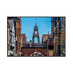 Chester, England - Eastgate Clock in the Evening 9035841 (36x19 1/8 Framed Gallery Wrapped Stretched Canvas)