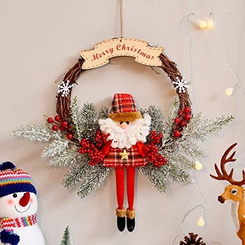 Ghirlanda di Natale, decorazione natalizia da appendere alla porta e alla finestra, con cervo, orologio, scatola regalo, palline di Natale, ghirlanda di benvenuto