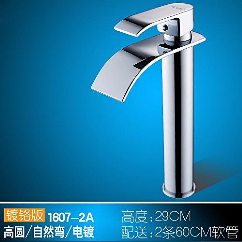 Bijjaladeva Wasserhahn Bad Wasserfall Mischbatterie Waschbecken Waschtisch Armatur für BadezimmerZapfhhne Kupfer Einzigen Griff Einzelne Bohrung Kalt-hei Sit-in Silber High