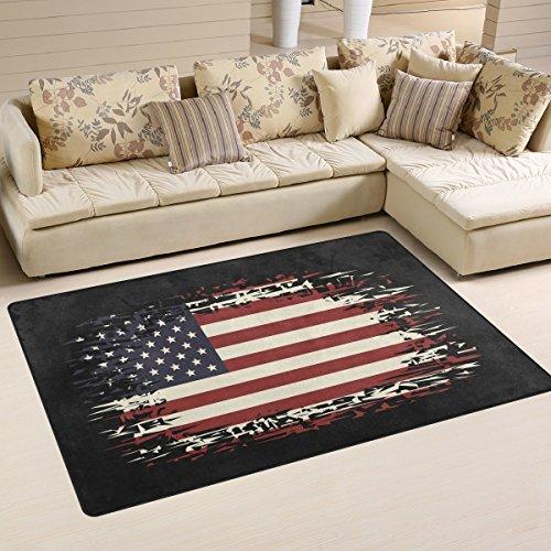 Mnsruu yibaihe, leicht, Bedruckt mit Deko-Teppich, Teppich, modern Hintergr& mit der Flagge der USA wasserabweisend stoßfest. Für Wohn- & Schlafzimmer, 153 x 100 cm