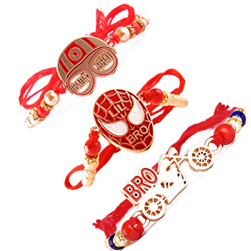 A Pioneer - Rose Gold Plated: Swag Mustache BRO, CHOTA BHAI & Spiderman Combo Set of 3 Fancy Look Rakhi for Children/Kids/Brother with Roli Chawal and RakshaBandhan Greeting Card