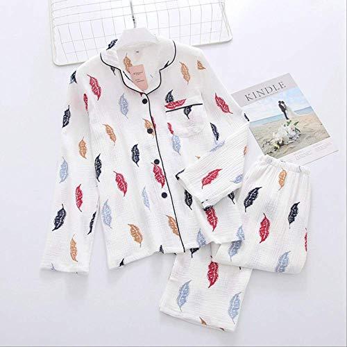 XFLOWR Spring Adies Pyjama Set Bladeren Gedrukt Huiskleding Comfort En Zachte Turn-down kraag Leuke Huiskleding Set Vrouwen Slaapmode