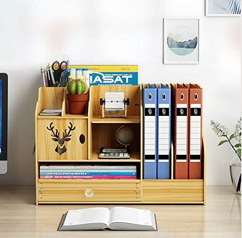 Queta Organizador de Escritorio de Madera, Cajas de almacenamiento de Escritorio Madera, Organizador escritorio de papelería para papelería, A4, bolígrafos, libros, cuadernos y ficheros (Madera)