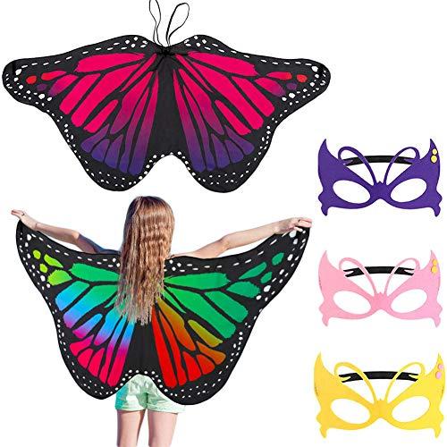 FANTESI 2 Pezzi Farfalla Ali, Costume Fata Butterfly Wings Farfalla Scialle Carnival Accessori Costume Cosplay Bambini