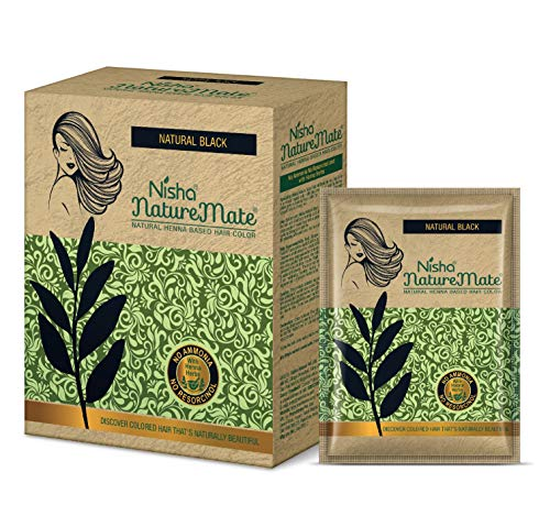 Nisha Nature Mate Natural Henna Based Hair Color No Ammonia Formula Used With Herbal Protection And Long-Lasting Shine Hair 6-in-1, 10gm Each Pouch, Box Pack(Natural-Black)