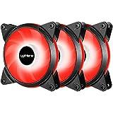 Novonest 120mm 冷却LEDファン PCケース用 静音タイプ 25mm厚 1200rpm±10% 赤い3本【T3RD3-3】