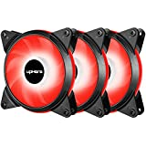 upHere 3-Pack 120mm 3-Pin High Airflow Quiet Edition Red LED Case Fan PC