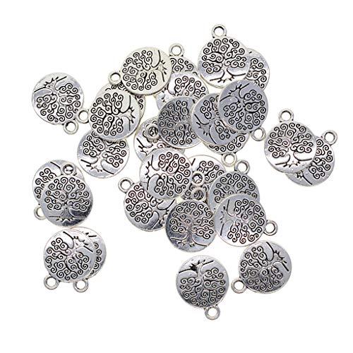 Baoblaze 30 Pezzi Ciondoli in Argento Tibetano Charms Artigianali per Produzione di Gioielli - Albero