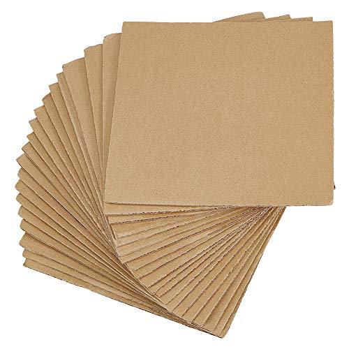 PandaHall Burlywood - Juego de 30 almohadillas de cartón corrugado para reforzar las hojas protectoras, tamaño aproximado 200 x 200 mm, cuadrado para embalaje, correo, artes y manualidades