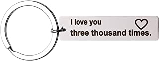 Fashion Keyring Engraved I Love You Three Thousand Times Keychain Wife Husband Christmas Gifts Boyfriend Girlfriend Anniversary Valentines Day Gift Keyring Mothers Fathers Day Gift