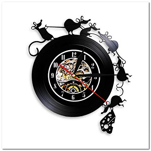 XMMwan Reloj de Pared de Registro Reloj de Pared de Registro de Vinilo de ratón de Aceite de Robo Arte de Pared Decoración de Pared Reloj de Pared Decoración para el hogar