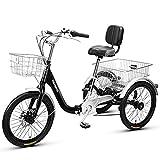 Triciclo de Adultos Triciclo Adulto Triciclo Plegable 20inch Bicicleta De Tres Ruedas Con Cesta De Compras Triciclos Adultos Para Personas Mayores Mujeres Hombres Trikes Recreación Compra(Color:negro)
