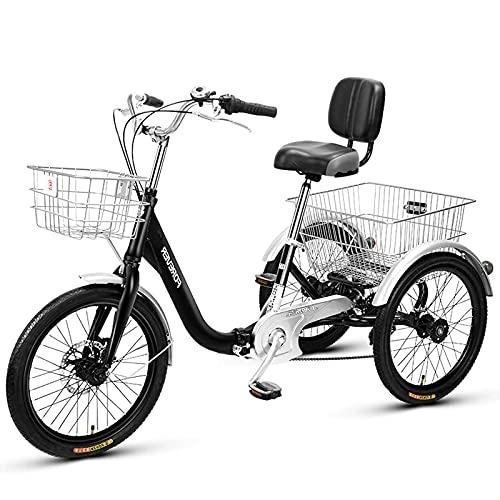 WGYDREAM Dreirad Für Erwachsene Faltendes Tricel 20 Zoll DREI Radfahrrad Mit Einkaufskorb Erwachsene Trikys Für Senioren Frauen Männer Trikes Erholung Einkaufen(Color:Schwarz)