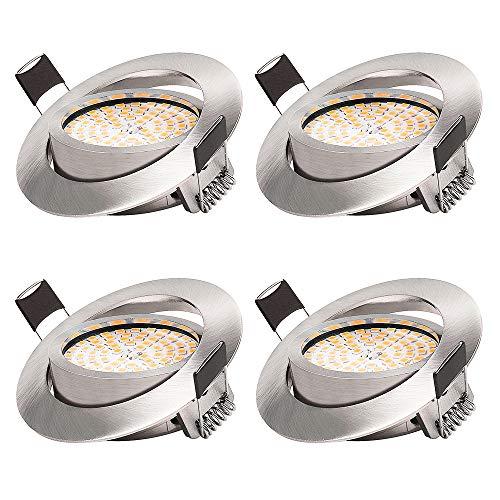 KSIPZE LED Einbaustrahler 6W Warmweiß 3000K 500LM LED Spots Dimmbar Schwenkbar Deckenspot Kein Flackern Ersetzt 50W Halogenlampe IP44 Runden Stahl Einbauspot (4er set)