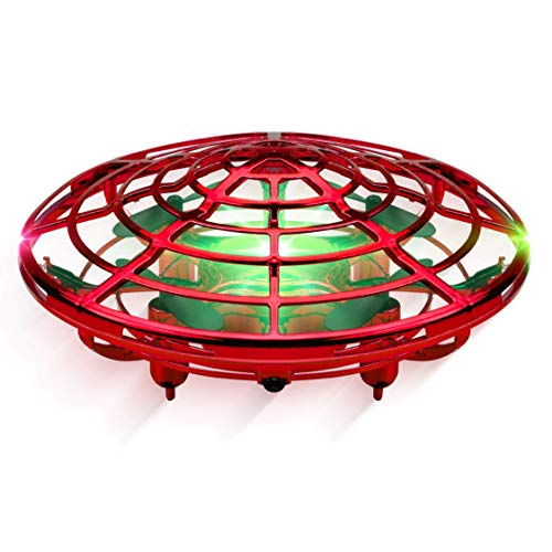 WDD Mini UFO Drone,Quad Induction Levitation Flying Toy Hand-Control,360 °Rotation Toy Creative Xmas Gift For Kids (Red)