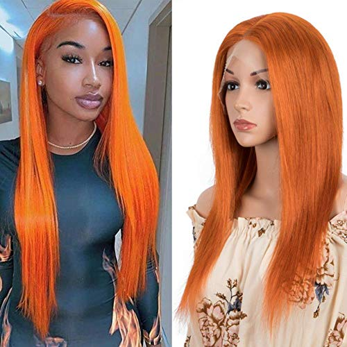 Perruques Sleek Human Hair Wigs Front Wigs 4X4 Closure Wigs Pink Blonde Straight Short Orange Wigs For Women,20Inches,Orange