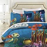 Findet Nemo gesteppte Patchwork-Tagesdecke, Super King Size, 3-teilig, 100 prozent Baumwolle, Decke mit Kissenbezügen, wendbare Bettdecke, Überwürfe