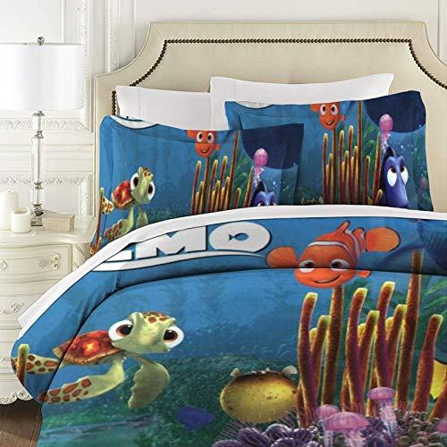 Finding Nemo - Colcha de patchwork para cama de tamaño super king (3 piezas, 100% algodón, con fundas de almohada, reversibles)
