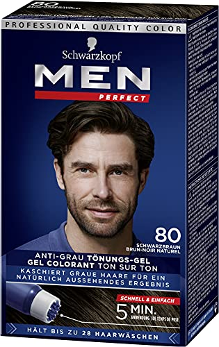 Men Perfect Schwarzkopf 80 Haartönung Natur schwarzbraun, hochwertige Haarfarbe gegen graue Haare 3er Pack (3 x 80ml)