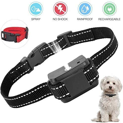 ULTPEAK Dog Barking, Adjustable Anti Bark Spray Collar, Rechargeable Electric Dog Training Collar, No Shock & Safe for All Dogs (Black)