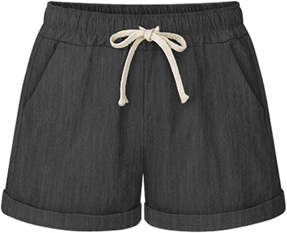 Lghxlxry Women's Casual Plus Size Elastic Waist Drawstring Wide Leg Loose Fit Comfy Summer Shorts with Pocket