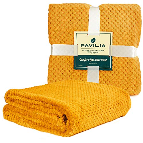 PAVILIA Premium Flannel Fleece Bed Throw Blanket for Sofa Couch | Mustard Yellow Waffle Textured Soft Fuzzy Blanket | Warm Cozy Microfiber Plush | Twin Size 60 x 80 | Lightweight, All Season