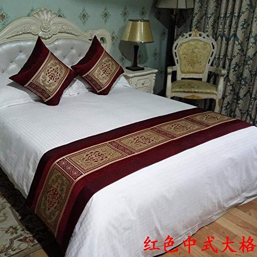 YYSWIM Camino de Cama Hotel de Toalla de Cama China Bandera de Cama Funda de algodón Zen decoración de Estilo étnico cojín de sofá en casa Red de Estilo Chino Rojo 50x50 + Almohada Almohada