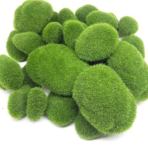 Woohome Musgo Artificial Rocas Decorativas, 30 Pz 3 Tamaño Piedras Artificiales Decorativas de Imitación para Jardines, Diseño de Terrarios de Hada, Arreglos Florales y Manualidades
