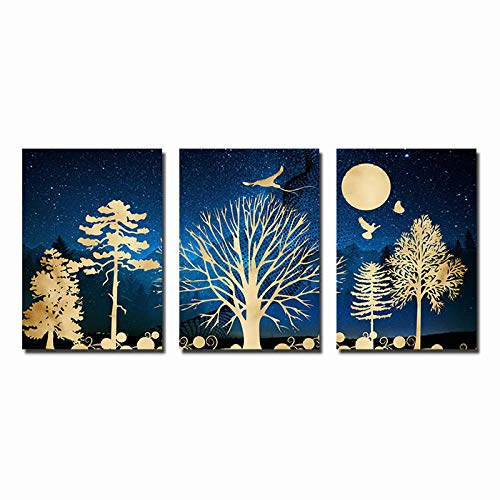 Golden Trees Forest Landscape Canvas Abstract Painting Nordic Posters and Prints Wall Art Pictures for Living Room Decoration 16X24Inx3(40X60Cmx3) Unframed
